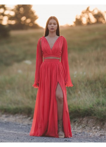 Red illusion Evening Dress